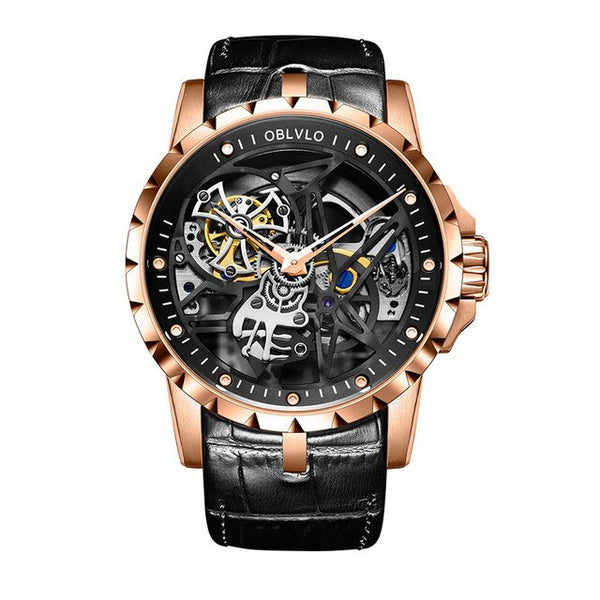 Skeleton Rose Gold Automatic Watche