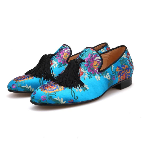 Luxury flower silk Handmade tassel loafer