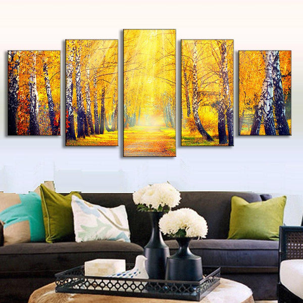 Forest Landscape Canvas Printed Golden Maple Leaf Road