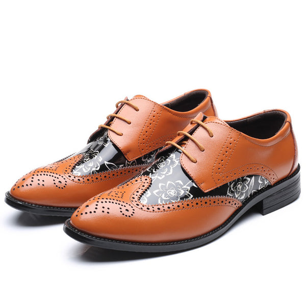 Pointed Toe Brogue Leather Oxford Shoe