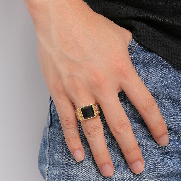 Stainless Steel Black Stone Gold Ring