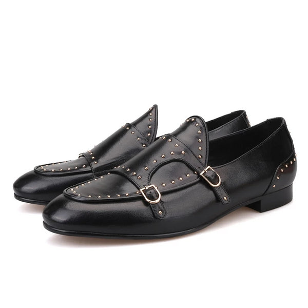 Black Leather Polka Dot designs Banquet loafers
