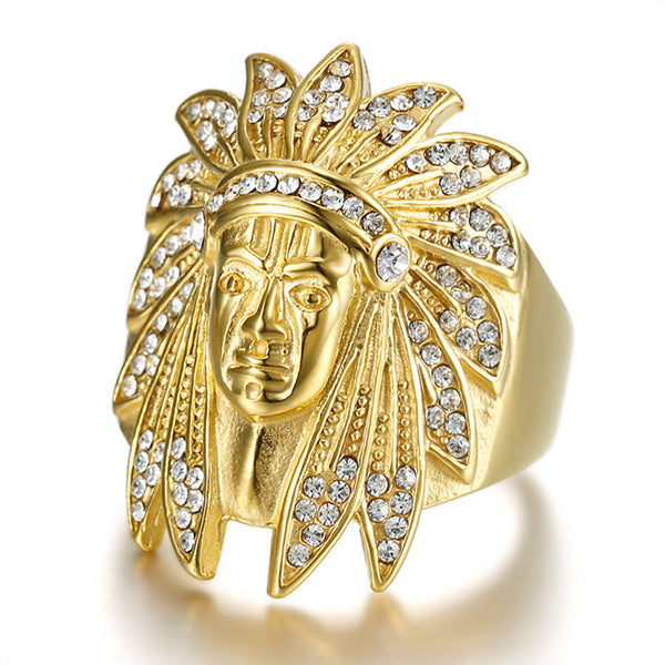 Paved Rhinestones Ice Out Bling Indians Chief Ring