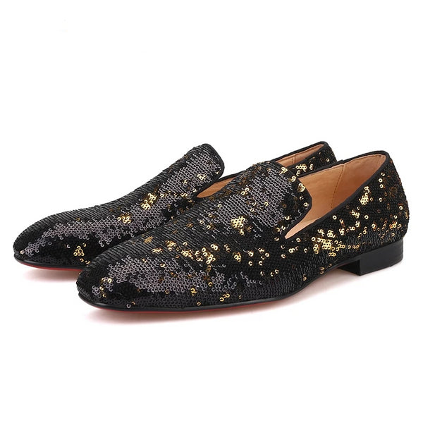 Black gold luxurious sequins loafer