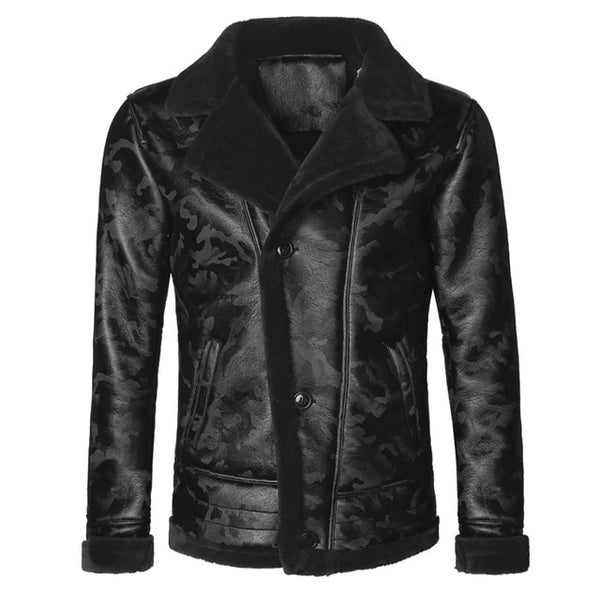 Black camouflage woolen leather jacket