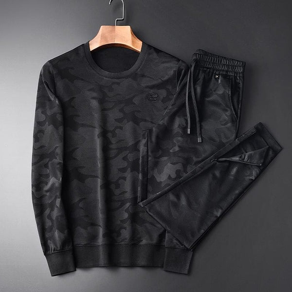 Black Fleece Camouflage Round Collar Fleece Tracksuits
