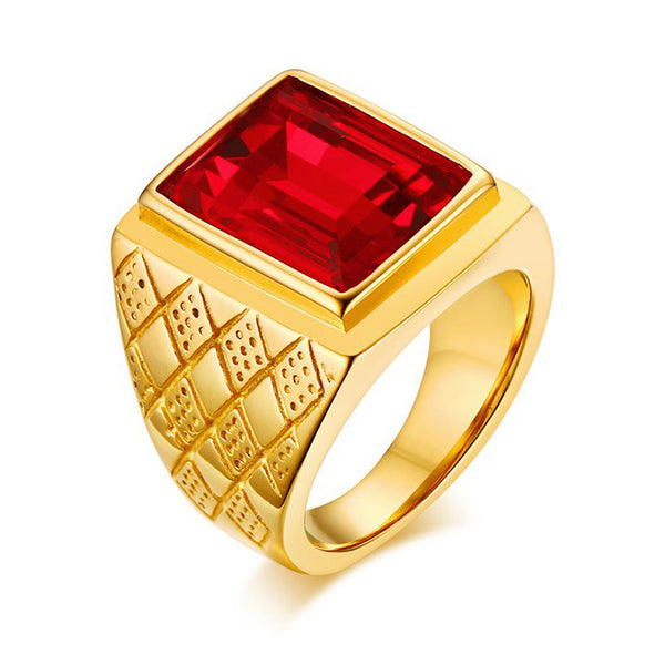 Red Stone Gold Filled Titanium Steel Geometric Square Ring