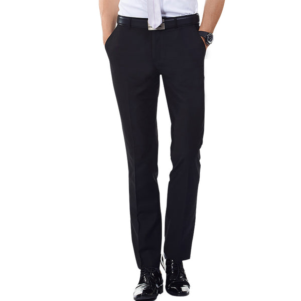 Navy Blue Black Solid Flat Front Long Trouser