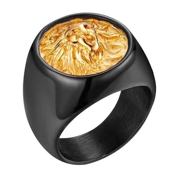 Gold Black Lion Stainless Steel Ring
