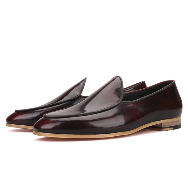Brown calfskin Handmade red bottom loafer