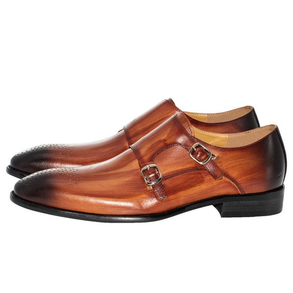 Handmade Loafers  Brown double buckle Leather Shoes