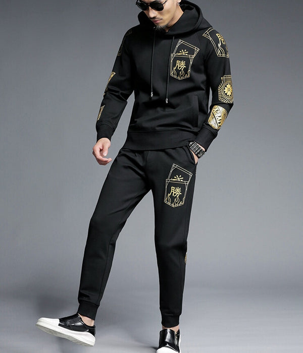 Black Gold Embroidery Tracksuits