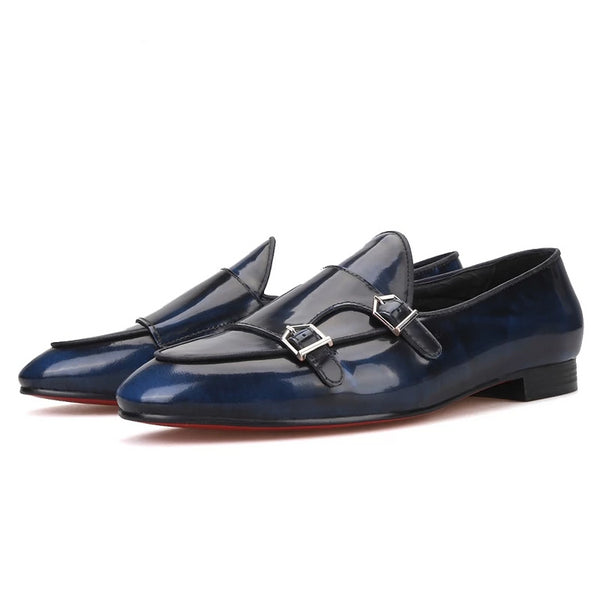Handmade Navy Calfskin metal buckle loafer