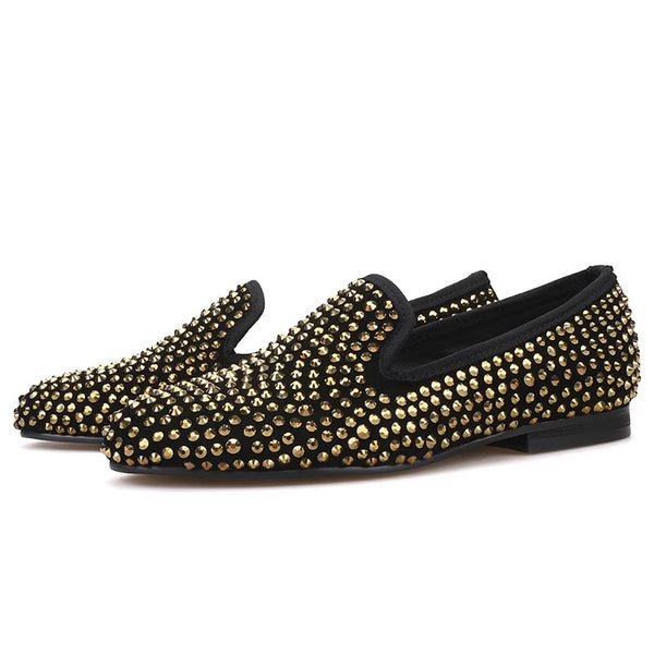 Handmade gold crystal suede loafer
