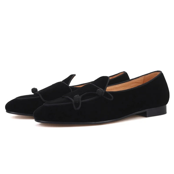 Handmade black velvet loafer