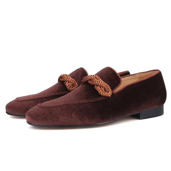 Handmade Brown velvet loafer