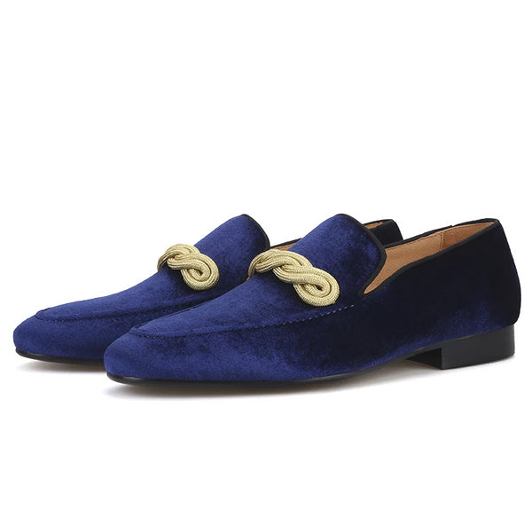 Handmade Blue gold rape Velvet loafer