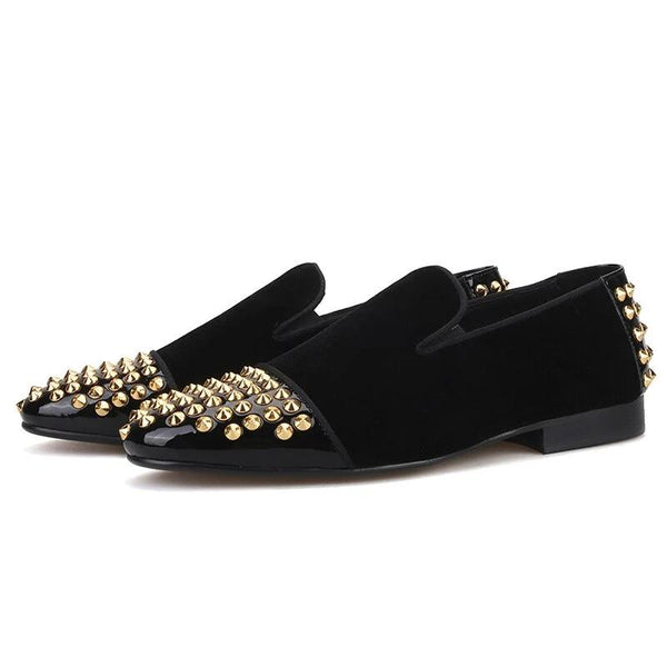 Handmade velvet rear gold spikes Italy style Loafer