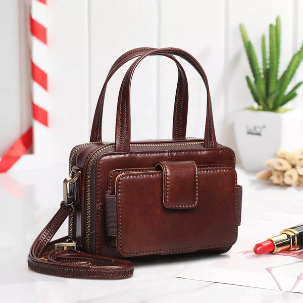 Crossbody Vintage Double Zipper  Leather Handbag