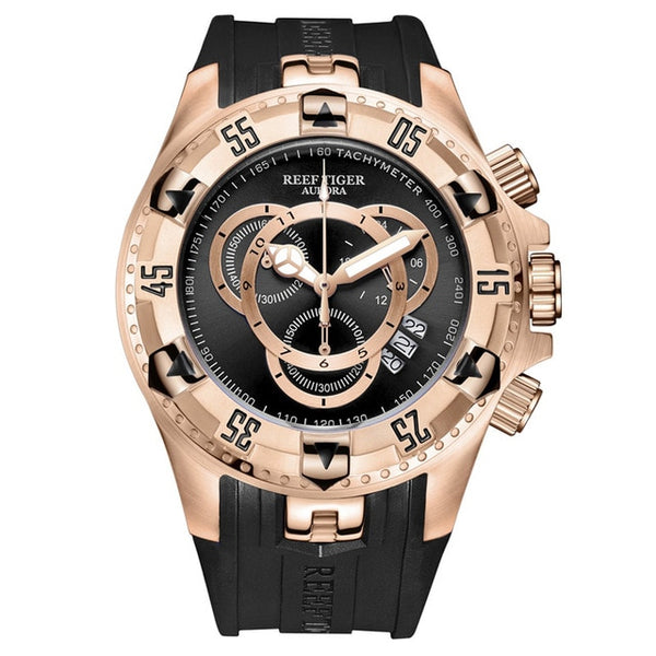 Rose Gold Sport Rubber Strap Watch
