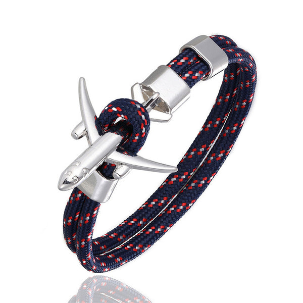 Airplane Anchor Charm Rope Chain Paracord Bracelet