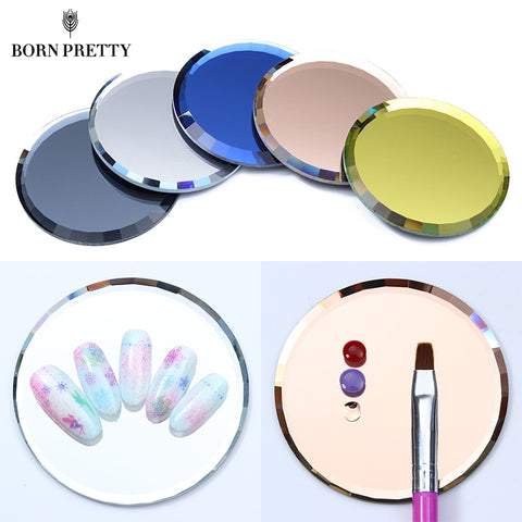 Mirror Glass Color Palette False Nail Tips Display Board Tool Practice Showing Shelf Manicure Nail Art Tool