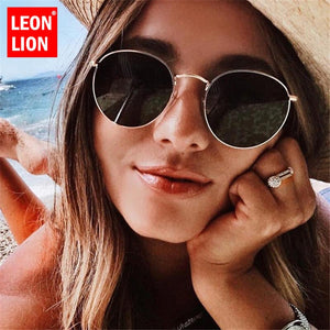 LeonLion 2018 Luxury Mirror Sunglasses Women/Men Brand Designer Glasses Lady Round Sun Glasses Street Beat Oculos De Sol Gafas