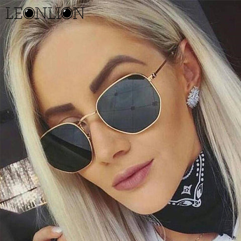 LeonLion 2019 Polygonal Sunglasses Women Glasses Lady Luxury Retro Metal Sun Glasses Vintage Mirror Oculos De Sol Feminino UV400