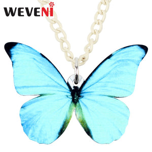WEVENI Acrylic Big Morpho Menelaus Butterfly Necklace Pendant Chain Insect Fashion Animal Jewelry For Women Girls Gift Wholesale