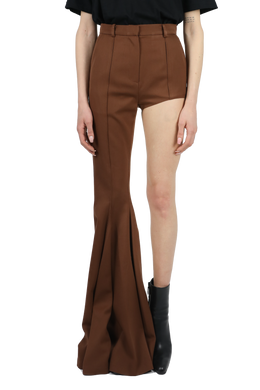 One-leg bootcut trousers - brown