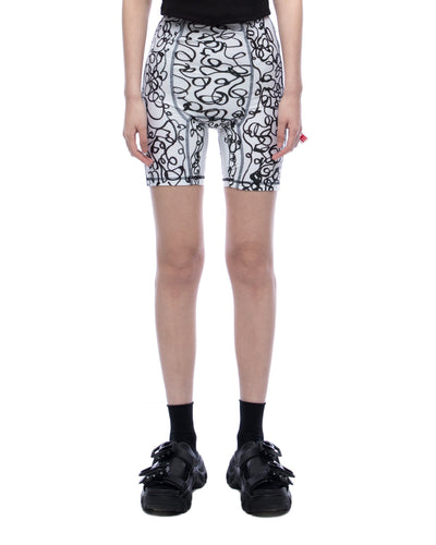 Scribble print cycle shorts - white black