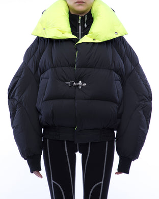 Ball-shaped lapel down jacket - black mix fluorescent green