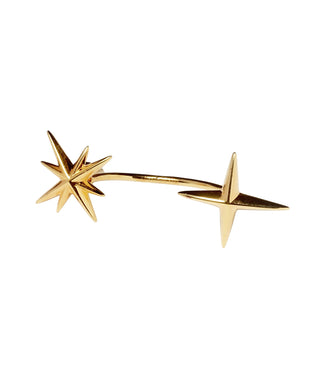 2 Star  Earring - gold