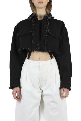 Denim black cropped fringed jacket