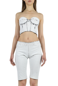 Jeather crackled white corset with black zipper