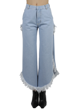 Medium denim wide fringed jeans