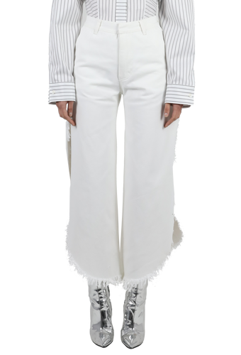 White denim wide fringed jeans