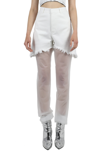 White high waisted jeans with plastic details