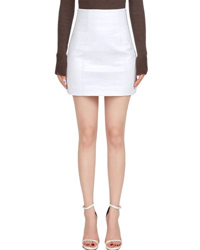 Crocodile Embossed Mini Skirt
