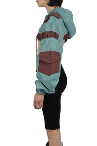 ultra cropped desert jacket - teal