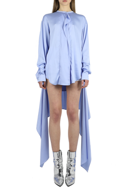 Detachable hem wrap dress - sky blue