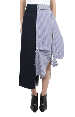 Asymmetric shirt detailed skirt