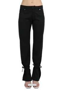 Tie embellished straight leg trouser - black