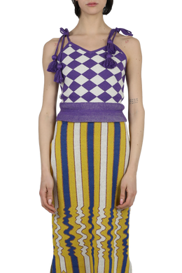 Tassle knitted tank top - purple off white