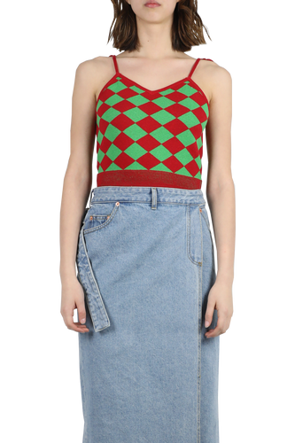 Tassle knitted tank top - red green