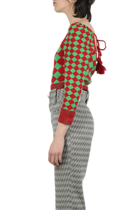 Square neck knitted top - red green