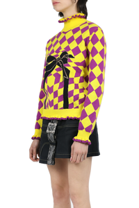 Jacquard knitted sweater - yellow purple black