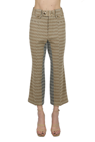 The rhombus calf-length pants - beige grey