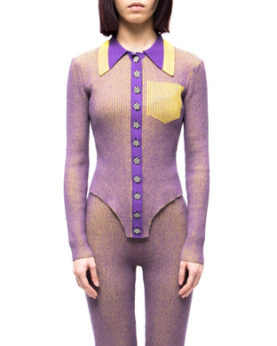 Skin-Knit shirt - purple yellow