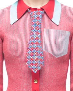 Beaded tie - red blue